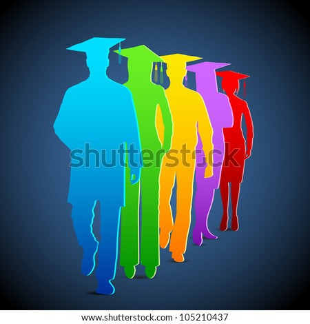 illustration of colorful graduates with mortar board - stock vector