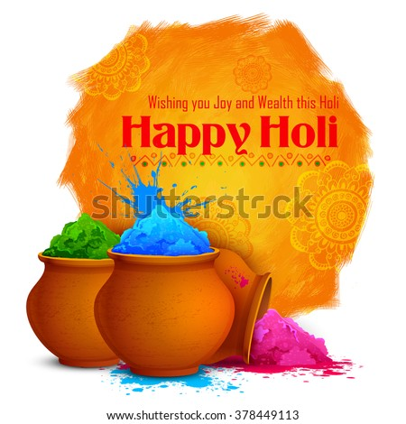 illustration of colorful gulaal (powder color) for Happy Holi - stock vector