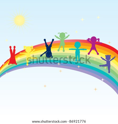 illustration of colorful happy kids standing on a rainbow - stock vector