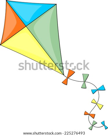 illustration of colorful kite isolated on white background - stock vector