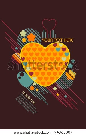 illustration of colorful love background in retro style - stock vector