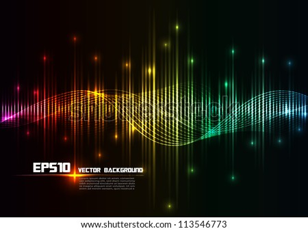 illustration of colorful musical bar showing volume - stock vector