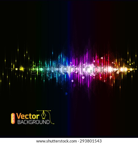 illustration of colorful musical bar showing volume on black background, Wallpapers, postcards and musical banners. - stock vector