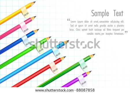 illustration of colorful pencil showing bar graph with tag to place text - stock vector