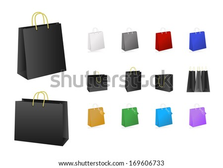 Illustration of colorful shopping bags collection isolated - stock vector