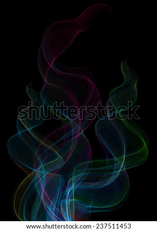 Illustration of colorful smoke clouds on black background  - stock vector