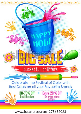 illustration of colorful splash coming out from bucket and pichkari in Holi promotional background - stock vector