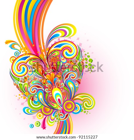 illustration of colorful swirl in love background - stock vector