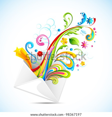 illustration of colorful swirls coming out of envelope - stock vector