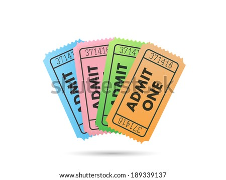 Illustration of colorful tickets isolated on a white background. - stock vector