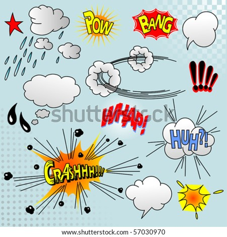 Illustration of comic elements for your design - stock vector