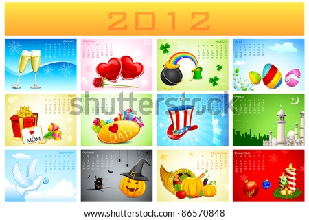 illustration of complete calendar for 2012 showing different holidays - stock vector