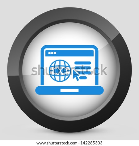 Illustration of computer connected in map webpage - stock vector