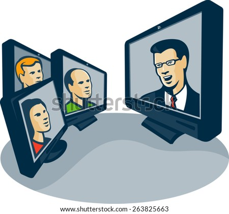 Illustration of computer screens monitor with man woman faces and presentor presenting webinar or video conferencing done in retro style. - stock vector