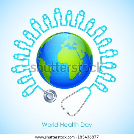 illustration of concept for World Health Day human icon stehescope around Earth - stock vector