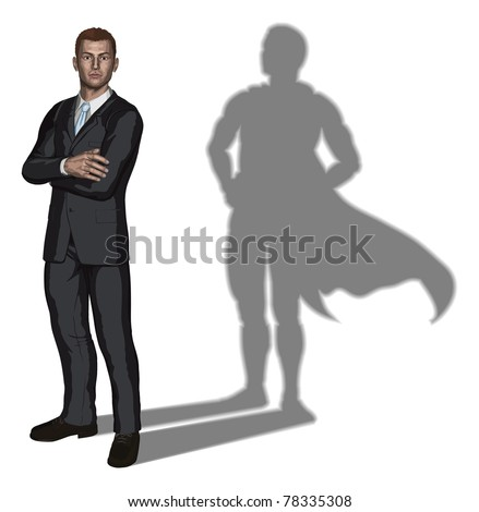 Illustration of confident handsome young businessman standing with arms folded with superhero shadow concept - stock vector