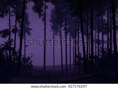 Illustration of coniferous forest landscape - stock vector