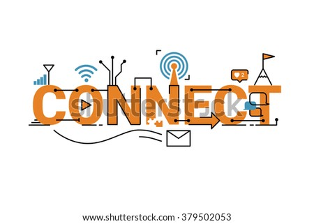Illustration of connect word typography design in orange theme with icon ornament elements - stock vector