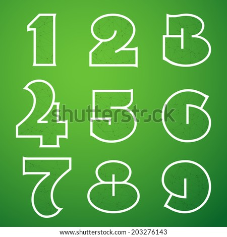 Illustration of Connections Alphabet Vector Font Set 4 1 to 9 - stock vector