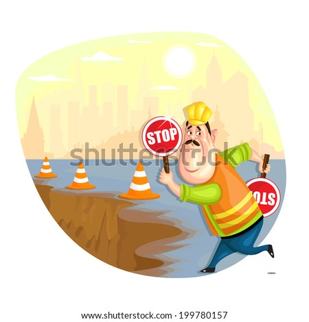illustration of construction worker in vector - stock vector