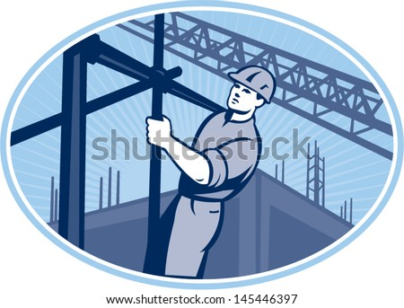 Illustration of construction worker working on scaffolding with buildings in background set inside oval done in retro style. - stock vector