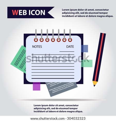 Illustration of copy-book for learning and writing, paper document with pencil web icon, vector. - stock vector