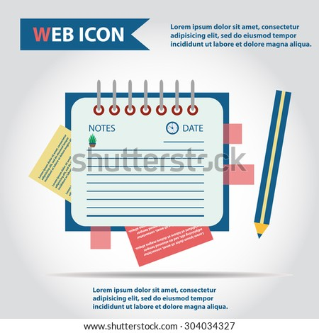 Illustration of copy-book for learning and writing, paper document with pencil web icon, vector. Personal organizer. - stock vector