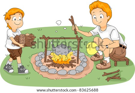 Illustration of Counselor/Father and Child Boiling Water at Camp - stock vector