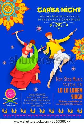 illustration of couple playing Dandiya in disco Garba Night poster - stock vector