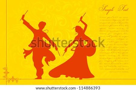 illustration of couple playing garba on Navratri - stock vector