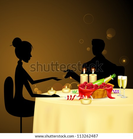 illustration of couple taking candle light dinner - stock vector