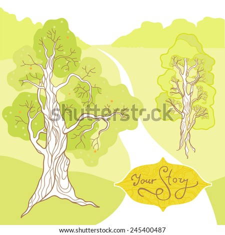 Illustration of Cover with Background Trees and Landscape - stock vector