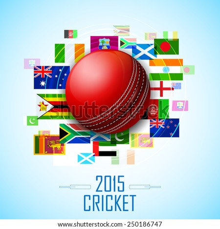 illustration of cricket ball with different participating countries flag - stock vector