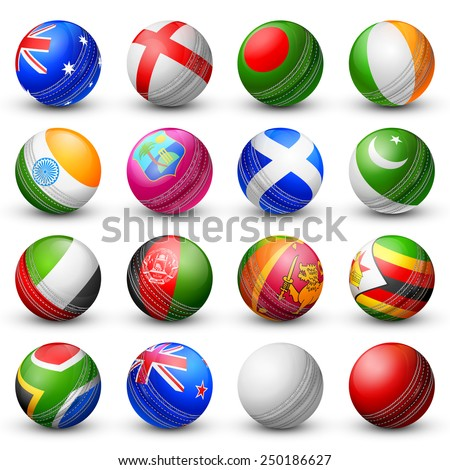 illustration of cricket bat of different participating countries - stock vector