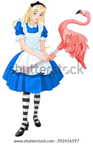 Illustration of cute Alice Plays Croquet - stock vector