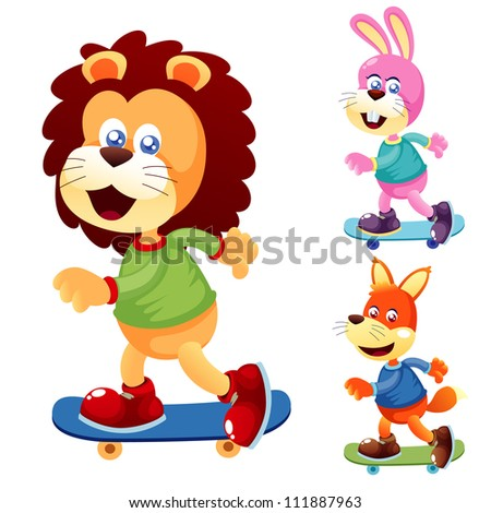 Illustration of cute animals on Skateboard - stock vector