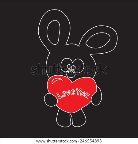 illustration of cute bear holding red heart with 'Love You' title - stock vector