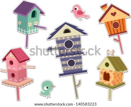 Illustration of Cute Bird House Sticker Designs - stock vector
