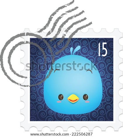 Illustration of cute blue bird on the stamp / postage - stock vector