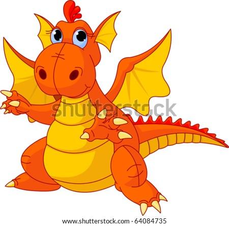 Illustration of Cute Cartoon baby dragon pointing - stock vector