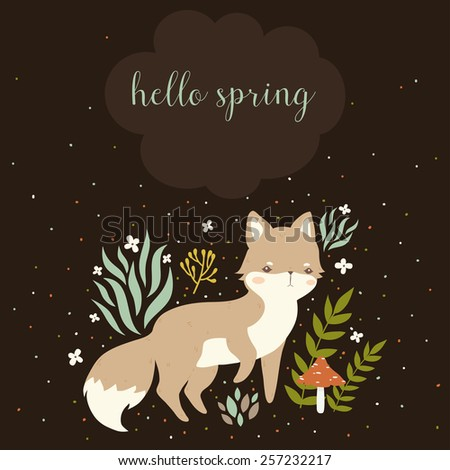 illustration of cute cartoon foxes, leaves, berries, mushrooms with hello spring text message on dark background. can be used for greeting cards or birthday invitations - stock vector