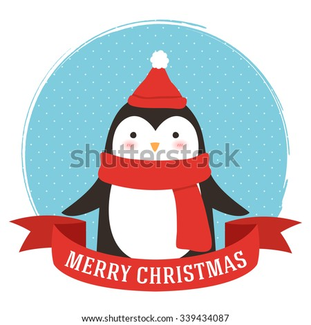 illustration of cute cartoon penguin into circle frame and with merry christmas text message. can be used for winter holidays greeting cards and party invitations - stock vector
