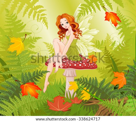 Illustration of cute fairy sitting on mushroom - stock vector