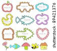 illustration of cute frame in different shape for kids - stock vector