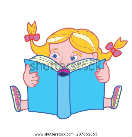 Illustration of Cute Girl Sitting while Reading Book. Education and school concept.Classic cartoon style. Vector, isolated on white. - stock vector