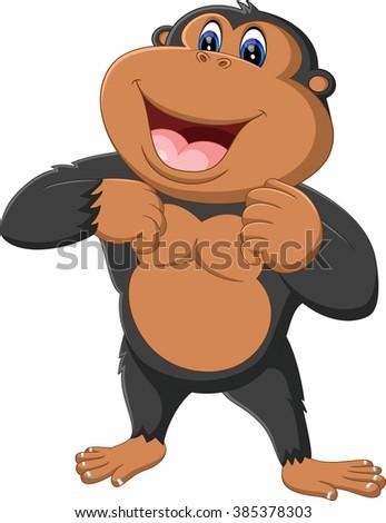 illustration of cute gorilla cartoon - stock vector