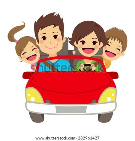 Illustration of cute happy family of four members smiling on car - stock vector