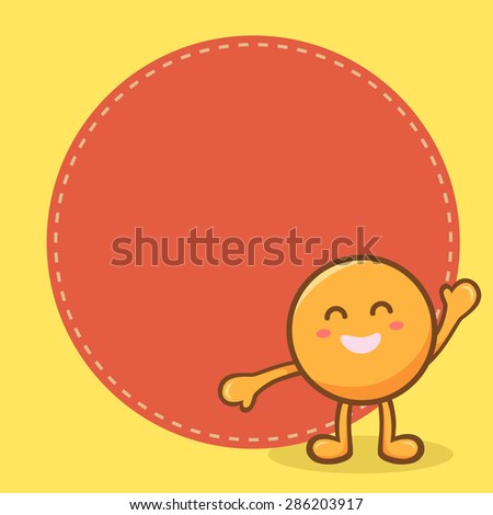 Illustration of cute happy orange circle mascot in yellow background and notes memo space for writing. - stock vector