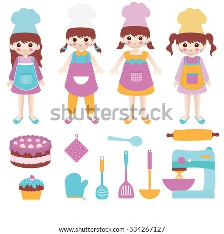 Illustration of Cute Little Girl Baking Cake - stock vector