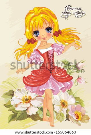 Illustration of cute little princess on floral summer background. Greeting postcard with Adorable elf girl. - stock vector